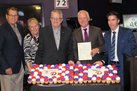Mayor of Oakville makes a presentation to Delta Gaming Group at Oakville Centre